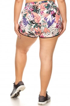 PLUS PINK/WHITE/MULTI TROPICAL PRINT BRUSH POLY TRACK SHORTS#X9SH14-01