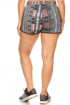 PLUS BLACK/MULTI TRIBAL PRINT TRACK SHORTS #X9SH14-TB04