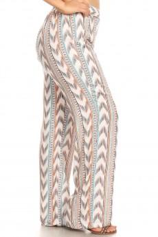 PLUS CREAM/BLACK/ORANGE/BLUE CHEVRON AZTEC BORDER PRINT STRAIGHT LEG PAN#X9SLP05-01