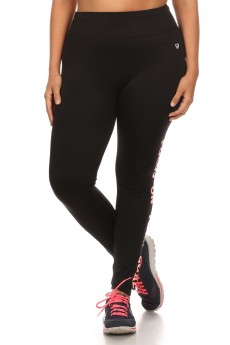 PLUS SIZE  (FOCUS ON YOUR GOAL) ACTIVE WORDING LEGGING #XA6L03-05