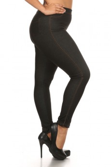 PLUS SIZE BASIC FLEECE LINED JEGGINGS #X6JG10