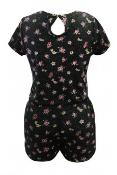 HEATHER BLACK/PINK DEMIN-LIKE MINI FLORAL PRINT SHORT SLEEVE ROMPER(7/8,10/12)#XK7RMP09-02