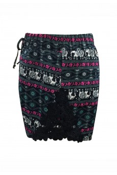 KIDS NAVY/PINK/MINT ELEPHANT PRINT SHORTS W/ NAVY LACE APPLIQUE(4/5,6/6X) #K7SH16-04