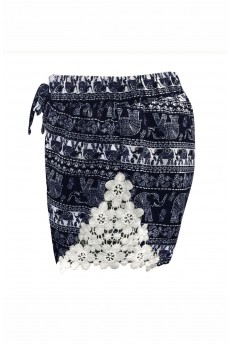 KIDS NAVY/WHITE ELEPHANT PRINT SHORTS W/ WHITE LACE APPLIQUE (7/8,10/12)#XK7SH16-06