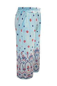 BLUE/RED/NAVY FLORAL BORDER PRINT CULOTTE(7/8,10/12)#XK8CLT05-03