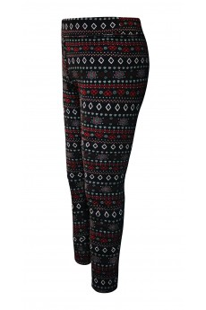 KIDS BRUSH POLY BLACK/RED/WHITE FAIRISLE PRINT FUR-LINED LEGGING(7/8, 10/12)/#XK8L87-06