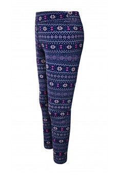 KIDS BRUSH POLY NAVY/PINK/WHITE FAIRISLE PRINT FUR-LINED LEGGING(7/8, 10/12)#XK8L87-07