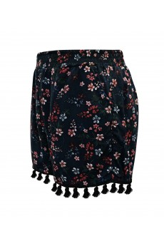 KIDS BLACK/MULTI FLORAL PRINT SMOCKING WAIST SHORTS W/ TASSEL TRIM(4/5,6/6X) #K8SH15-06