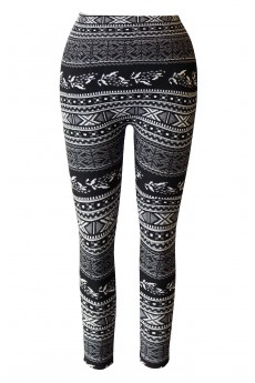 KIDS BLACK/WHITE TRIBAL JACQUARD SEAMLESS FLEECE LEGGING (size:7/8,10/12) #XKSJ15FL03