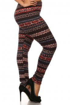 PLUS SIZE BLACK/MULTI COLOR TRIBAL PRINT BRUSH POLY FUR LINED LEGGINGS #XPL15FUR27