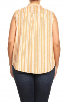 MISSY PLUS NON BRUSHED TEXTURE STRIPE PLACKET SLEEVLESS #XSL008-SP07C