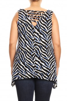 MISSY PLUS RAYON SPAN ZEBRA PRINT TWIST BACK SLEEVELESS TOP#XSL010-SK10
