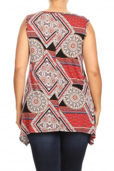 MISSY PLUS  RAYON SPAN MEDALLION PRINT LACE UP SLEEVELESS#XSL011-BH15