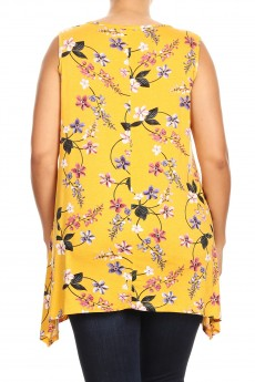 MISSY PLUS RAYON SPAN FLORAL PRINT LACE UP SLEEVELESS TOP#XSL011-FL03