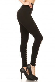 BLACK SEAMLESS HIGH WAIST LEGGING W/ BOTTOM  FRONT CUT OUTS#7L126