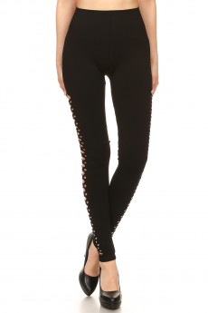 BLACK SEAMLESS HIGH WAIST LEGGING W/ SIDE DISTRESSED HOLES #7L132