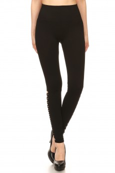 BLACK SEAMLESS HIGH WAIST LEGGING W/ BTM SIDE DISTRESSED HOLES#7L133