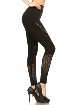 BLACK SEAMLESS HIGH WAIST LEGGING WITH FISHNET PANELS#YD7L140
