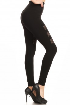 BLACK SEAMLESS HIGH WAIST LEGGING WITH FISHNET PANELS#YD7L144