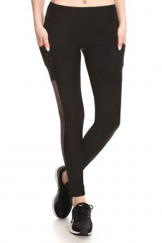 BLACK LEGGING W/METALLIC MESH SIDE POCKET PANELS#YD7L75
