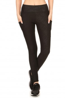 BLACK FLORAL PRINT EMBOSSED LEGGING W/ MESH SIDE POCKET PANELS#YD7L94-03
