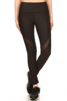 HIGH WAIST BRUSH POLY EMBOSSED LEGGING W/ASSYMETRICAL PANELS#YD7L96-01