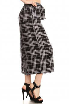 BLACK HEATHER CHARCOAL PLAID PRINT CULOTTES W/ FRONT SASH TIE#YD8CLT01-15