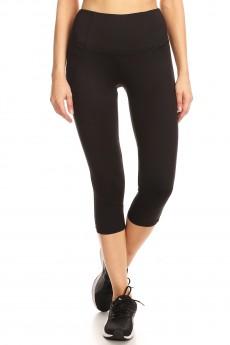 BLACK CAPRIS WITH BACK LACE LEG PANELS#YD8CP25