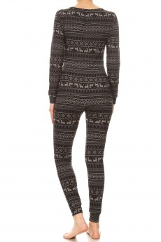 BLACK/GREY REINDEER FAIRISLE PRINT BUTTONED UP ONESIE JUMPSUIT#YD8JPS26-06