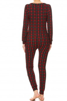 BLACK/RED PLAID PRINT BUTTONED UP ONESIE JUMPSUIT #YD8JPS26-07