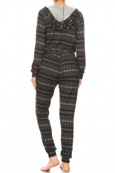 BLACK/HEATHER GREY FAIRISLE PRINT SWEATER KNIT HOODIE JUMPSUIT #YD8JPS27-01