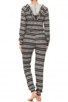BLACK/HEATHER GREY REINDEER PRINT SWEATER KNIT HOODIE JUMPSUIT#YD8JPS27-02