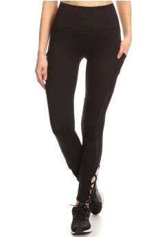 HIGH WAIST TUMMY CONTROL LEGGING W/ SIDE POCKET&STRAP DETAILS#8L07