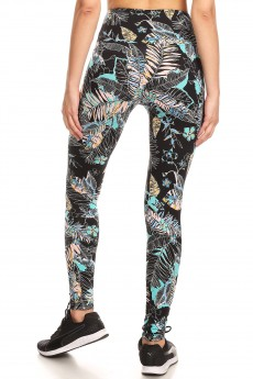 BLACK/MINT/MULTI TROPICAL PRINT TUMMY CONTROL HIGH WAIST LEGGING#YD8L27-08
