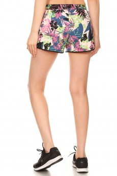 PINK/BLUBBERRY/MULTI TROPICAL PRINT BRUSH POLY TRACK SHORTS#YD8SH20-02