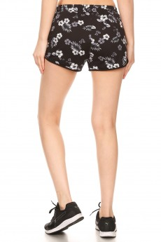 BLACK/MULTI TROPICAL FLORAL PRINT BRUSH POLY TRACK SHORTS#YD8SH20-03