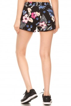 BLACK/MULTI TROPICAL PRINT BRUSH POLY TRACK SHORTS#YD8SH20-04