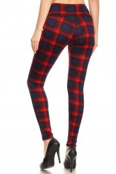 BLACK/RED PLAID PRINT FRONT METAL BUTTON TREGGING W/ FRONT POCKETS#YD8TRG05-01