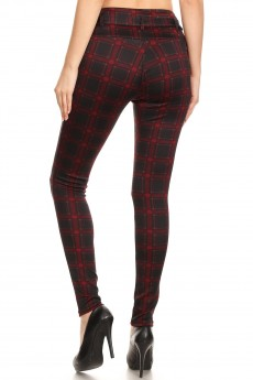 BLACK/BURGUNDY/RED PLAID PRINT  HIGH WAIST TREGGING W/ SELF BELT & FRONT POCKETS#YD8TRG06-02