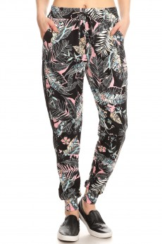 BLACK/PINK/MULTI TROPICAL PRINT MESH OVERLAY SIDE PANEL JOGGER#YD8TRK23-03