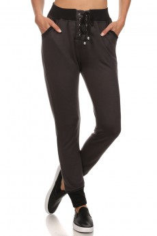 LACED-UP TIE JOGGER WITH CONTRAST WB & CUFF # YDTRK02